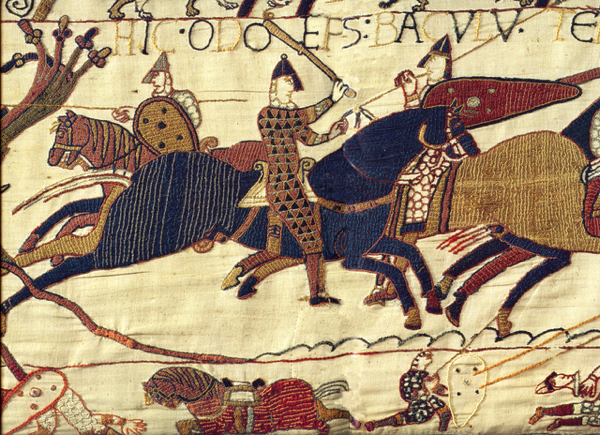 the image shows a panel from the Bayeux Tapestry
