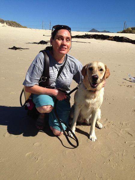 the image shows Lois and her guide dog.